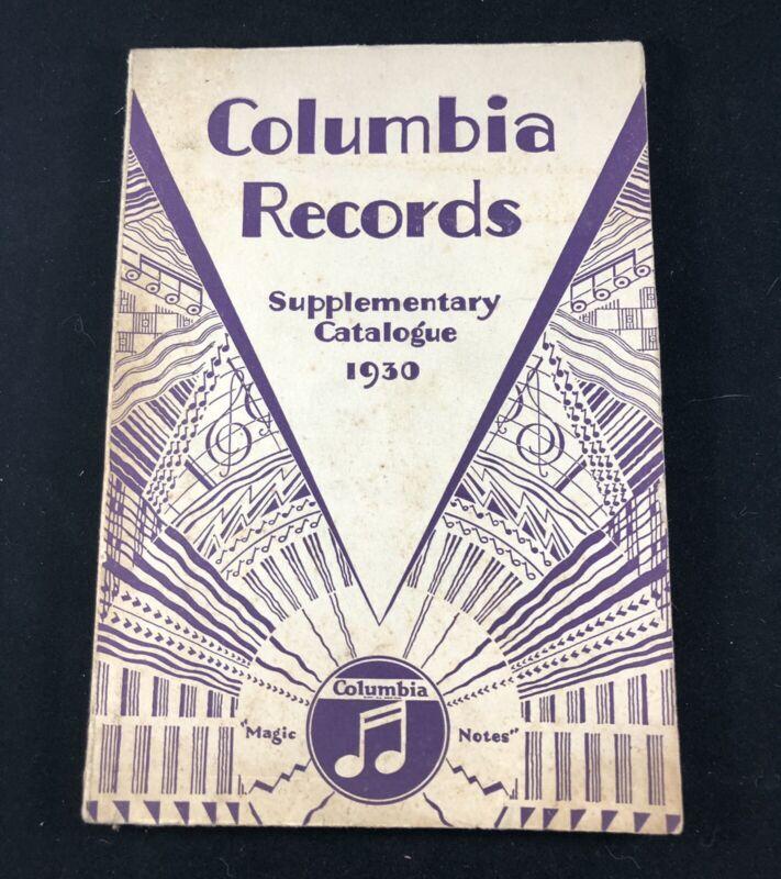 ORIGINAL 1930 COLUMBIA RECORDS SUPPLEMENTARY CATALOGUE 78 RPM