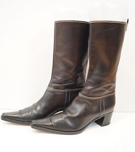 sergio chocolate brown leather flat 3 4 length