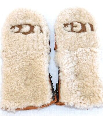 NWOT WOMENS LARGE UGG CURLY PILE FLIP MITTENS CHESTNUT LEATHER SHEEPSKIN 1089975 for sale  Ventura
