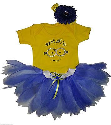 MINION TUTU SKIRT T SHIRT RHINESTONE BABY GROW BOOK WEEK CAKE SMASH FANCY - Minion Kostüm Tutu
