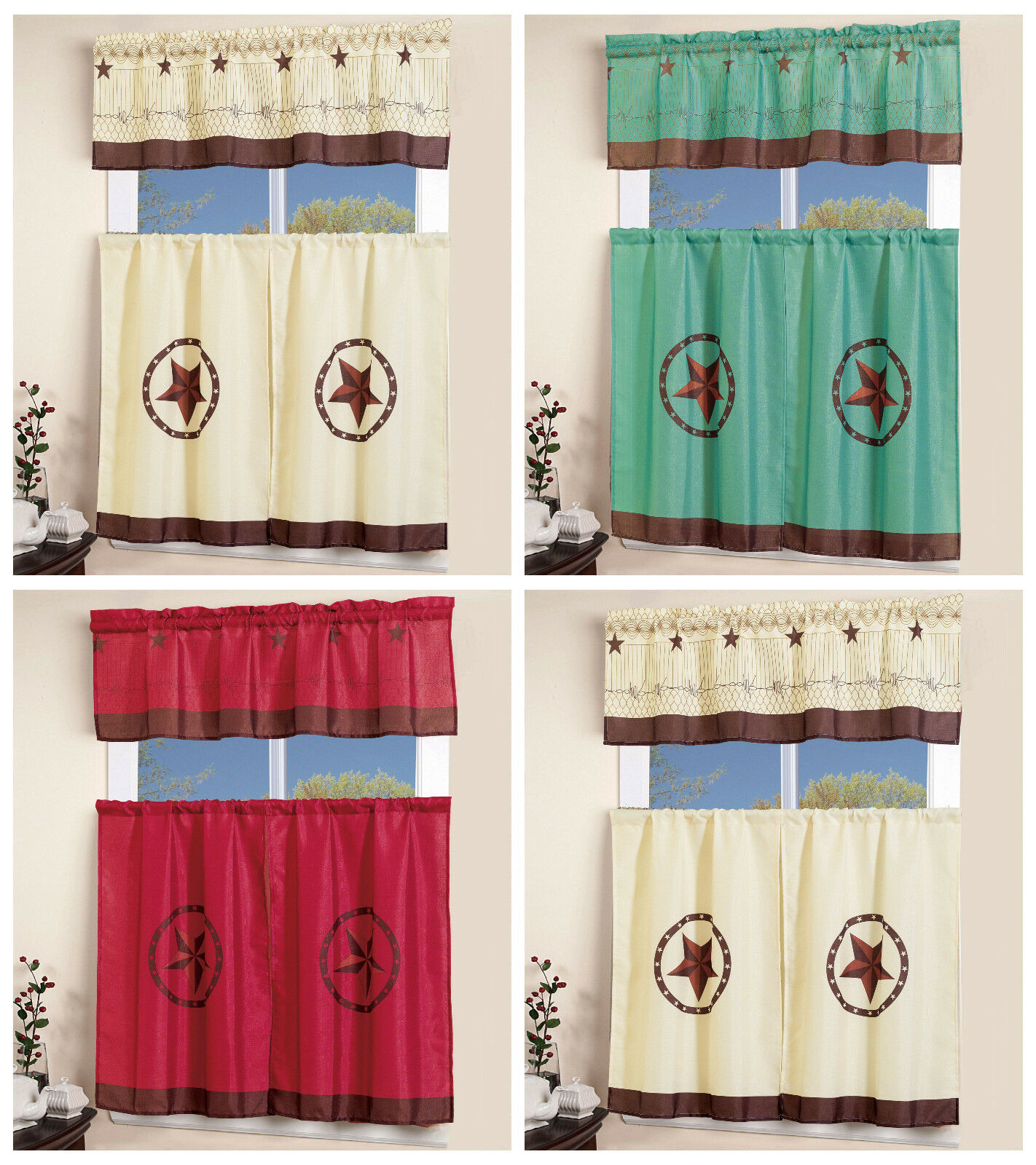 3 pcs Western Texas Star  Kitchen Curtain with Swag and Tier