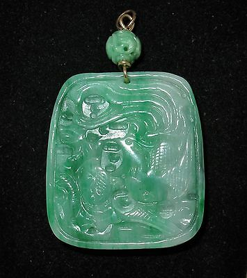 "BIG Chinese Green & White JADEITE Jade Pendant w/ Dragon & Phoenix  (40g, 2.8"")"