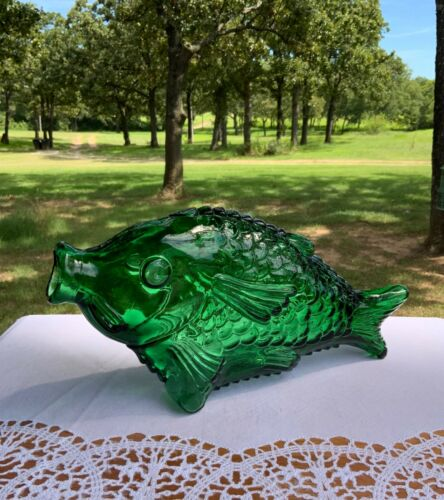 RARE Large Mouth Horizontal Green Fish Bottle Decanter Deepest Green Gorgeous!!