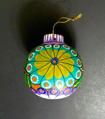 Vintage Ceramic Christmas Ornament Hand Painted Floral Multicolor 3.5""
