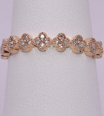 9 Four-Petals Flowers Diamond stackable Band Ring 14K Rose Gold