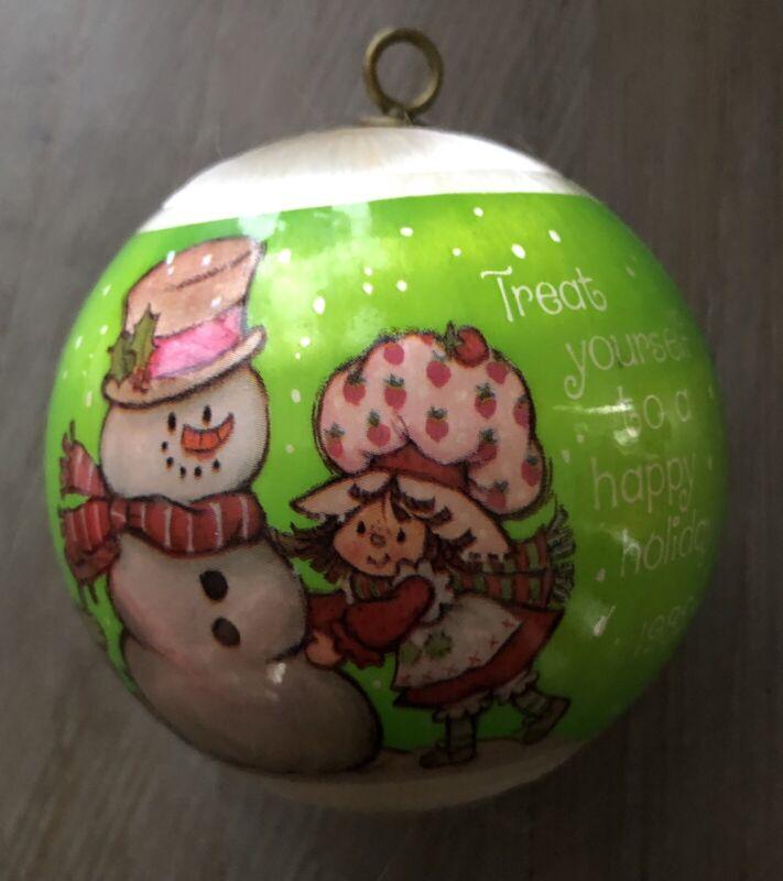 vintage strawberry shortcake satin christmas ornament 1982