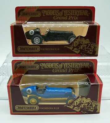 "TWO ""MATCHBOX"" YESTERYEAR Y-14 GRAND PRIX E.R.A R.1.B RACERS BLUE & BLACK MIB"