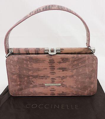 Coccinelle Henkeltasche Trapeztasche rosa grau Reptiloptik Leder bag sac  Rosa Trapez