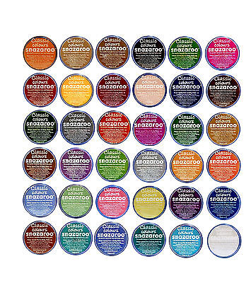 18ml SNAZAROO FACE + BODY PAINT Stage Make-Up All Colour Theatrical Fancy Dress