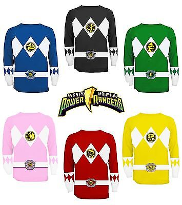 Adult TV Show Mighty Morphin Power Rangers Ranger Costume Long Sleeve T-Shirt](Tv Show Costume)