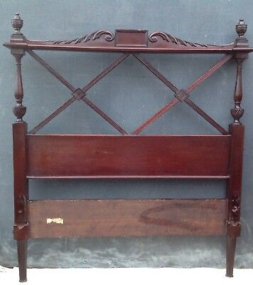 Antique vintage mahogany bed headboard and footboard