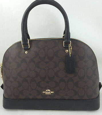 Signature Satchel Handbag - New Authentic COACH F27584 Sierra Signature Dome Satchel Handbag Purse Brown