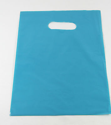 """100 12"""" x 15"""" BLUE  GLOSSY Low-Density Plastic Merchandise shop or Party Bags"""