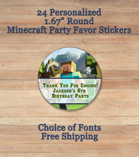 """24 Personalized MINDCRAFT 1.67 """" ROUND Treat Goodie Favor Party Bags Stickers"""
