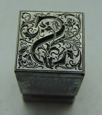 Printing Letterpress Printers Block Lead Letter S Floral Design