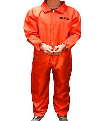 MENS ADULT PRISONER COSTUME FANCY DRESS CONVICT JUMPSUIT STAG DO PARTY HALLOWEEN - Convict Costumes