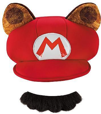 ADULT SUPER MARIO RACCOON OFFICIAL HAT & MUSTACHE COSTUME KIT DG98836AD