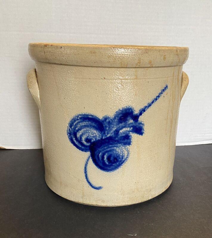 Antique 3 Gallon Pottery Glazed Stoneware Blue Cobalt Decorated Crock
