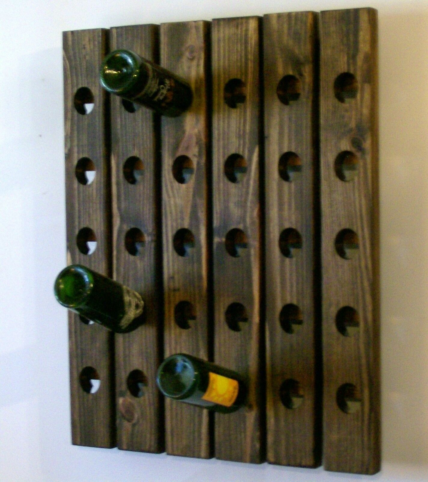 Handmade riddling wine rack wood wall hanging eur 84 81 Hanging wooden wine rack