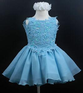 Baby-toddler-Girl-National-Glitz-Short-Blue-Pageant-Dress-Sequin-Sz1-2-3-4-5-6-7