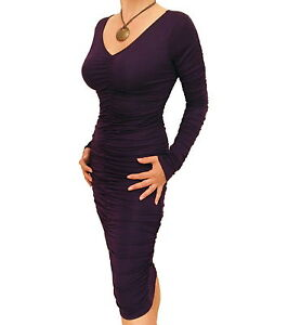 New Figure Hugging Ruched V Neck Dress - Size 8 10 12 14 16