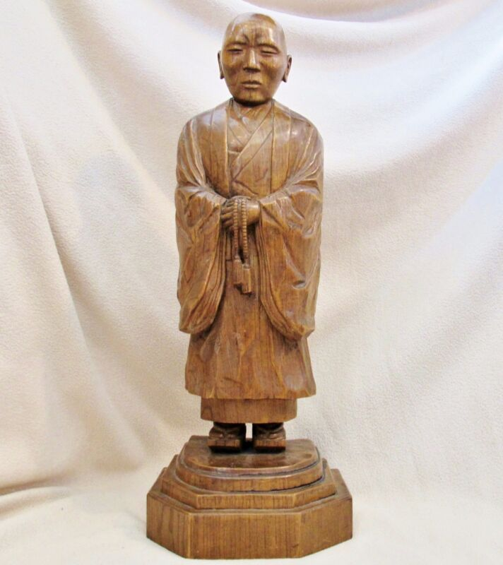 """20.9"""" Antique Chinese or Japanese Carved Wood Buddhist Monk on Pedestal Stand"""