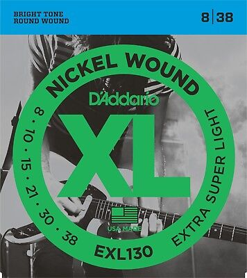 EXL130 D'Addario Guitar Strings 8-38 Electric Extra Super Li
