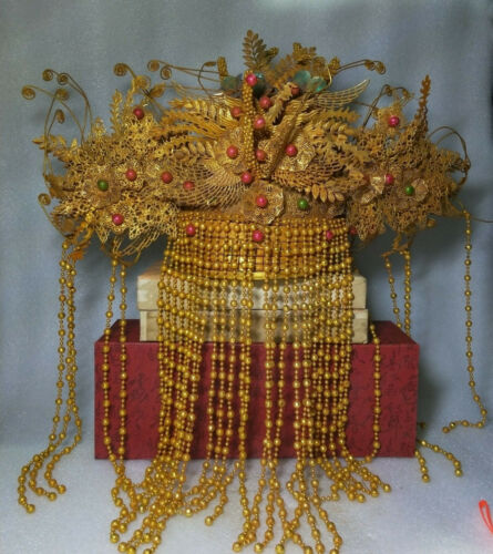 China Ancient Qing Dynasty Folk Wedding Bride Headgear Gilt Copper Phoenix Crown