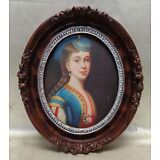 European Woman Portrait Oil Painting on Canvas Panel in Oval Antique Style Frame