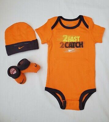 3 Piece Nike Baby Bodysuit, Hat, Booties, 0-6 Months, 2 Fast, Gift, Orange B7 MP
