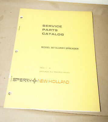 Sperry New Holland Model 307 Slurry Spreader Service Parts Catalog Pn 5030711