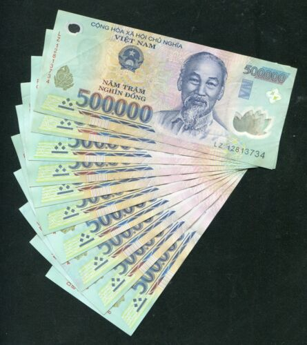 VIETNAM 5 MILLION DONG CURRENCY (VND) 10 x 500,000 500000 Banknote -  Used
