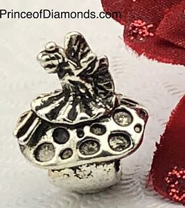 Silver coloured mushroom w butterfly bead fits Pandora bracelet