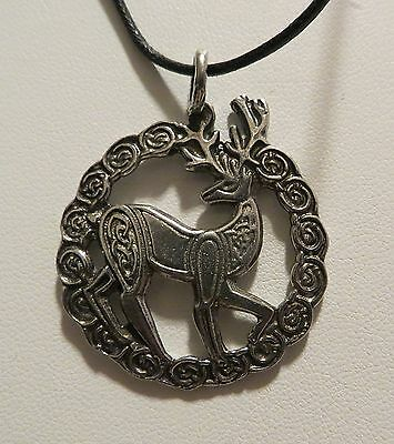 CELTIC STAG PENDANT NECKLACE PEWTER WICCA/PAGAN/CELT A