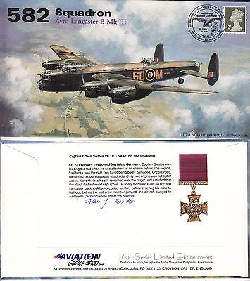 AV600 582a WWII WW2 582 Squadron PFF Avro Lancaster cover signed DUKE