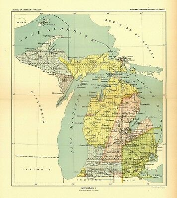 1896 map Michigan 1 United States Indian land cessions POSTER 29