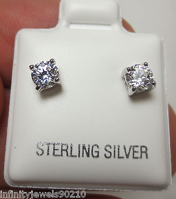 0.58 cts Unisex Round Brilliant cut Mens or Ladies Stud Earrings Sterling Silver