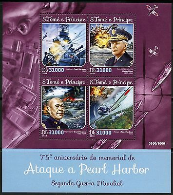 SAO TOME  2016 75th ANNIVERSARY OF THE ATTACK ON PEARL HARBOR  SHEET  MINT NH