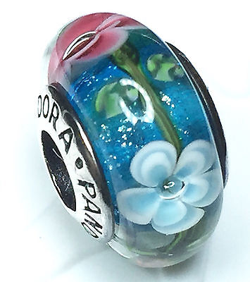 NEW Authentic Pandora silver 925 Ale murano bead charm flower pink green