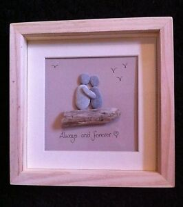 Handmade Framed Pebble Art Driftwood Picture Love Boy Girl Personalised Beach