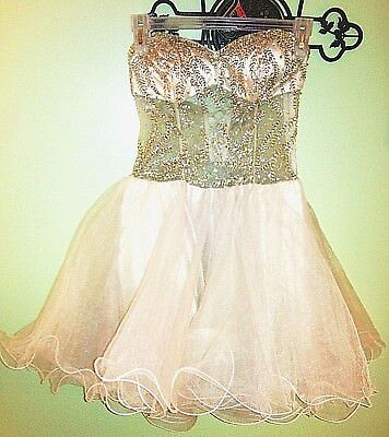 *24 HR SALE!*  Hi-End Strapless Semi-Sheer Formal Dress Party Short Gold Beads (Embroidered Sheer Net Baby Doll)