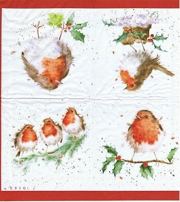 SERVIETTES EN PAPIER ROUGE GORGE OISEAU DE COLLECTION. PAPER NAPKINS BIRD ROBIN - Rouge Papier
