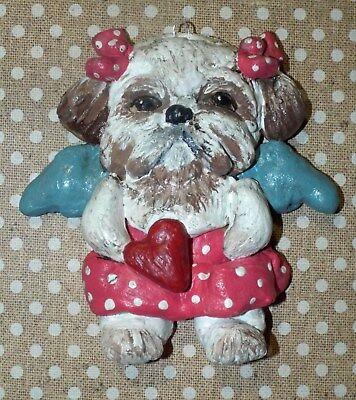 Folk Art  Whimsical  Shih Tzu Dog Ornament New Vintage Whimsical Style