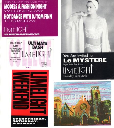Lot of 9 NYC LIMELIGHT + Other Invite PASS Admission Cards SCARCE Vintage 1980