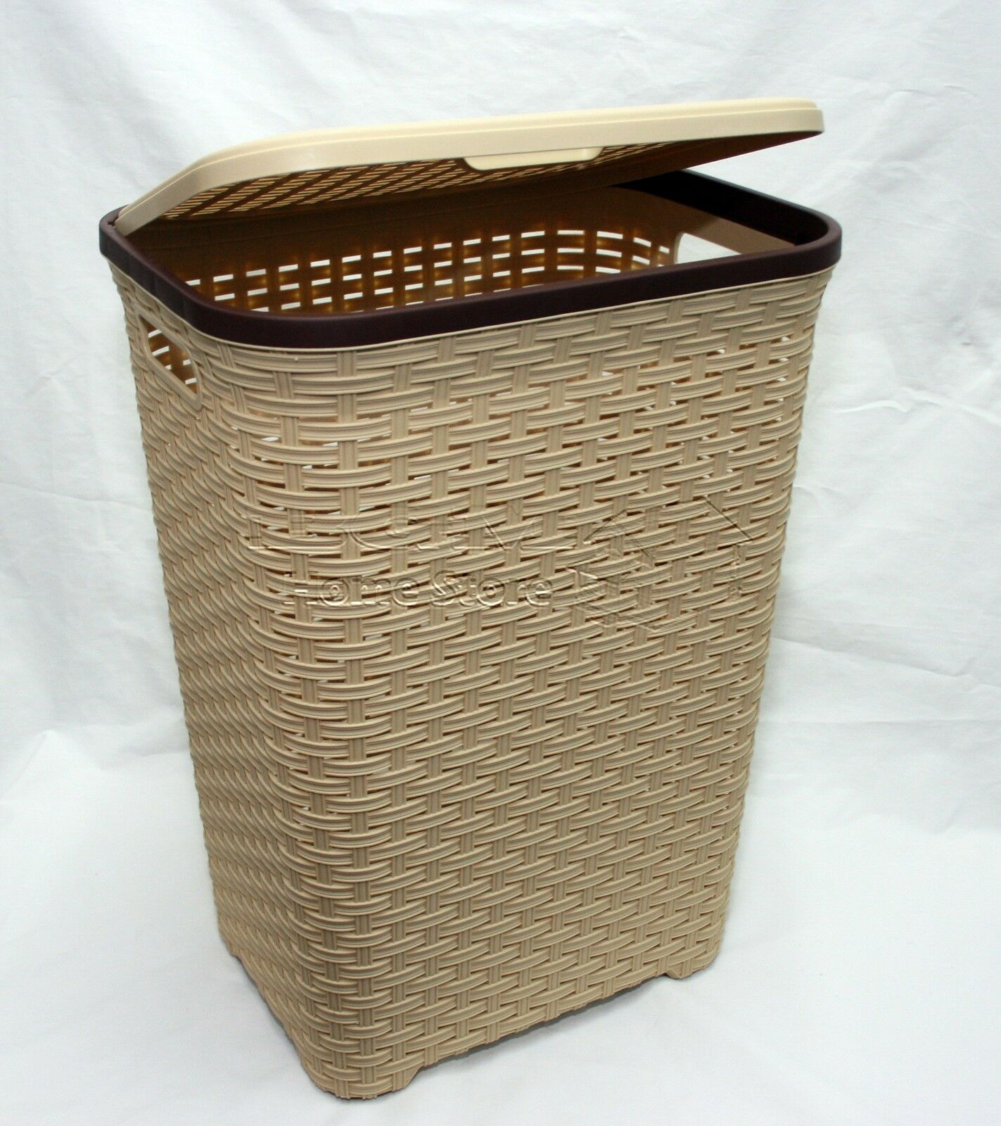 Light Brown 60l Litre Woven Style Rattan Plastic Laundry