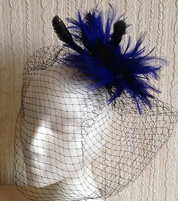 blue feather black veiling fascinator millinery hair clip ascot wedding bridal 1