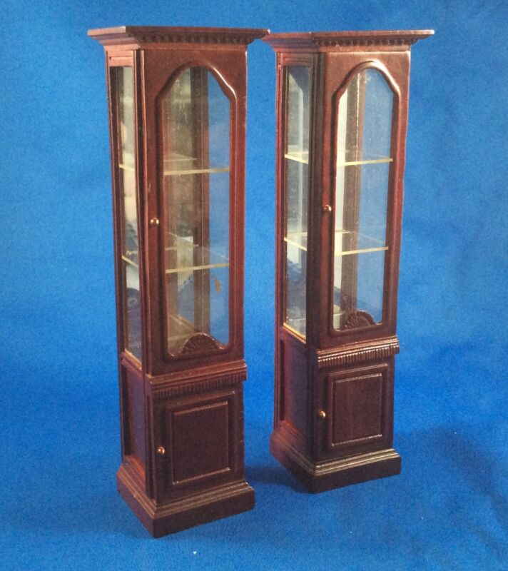 PAIR OF MATCHING CHINA CABINETS - DOLLHOUSE
