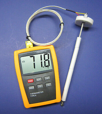 Digital K-type Thermometer With High Temperature Ceramic Probe Furnace Kiln Cr-7