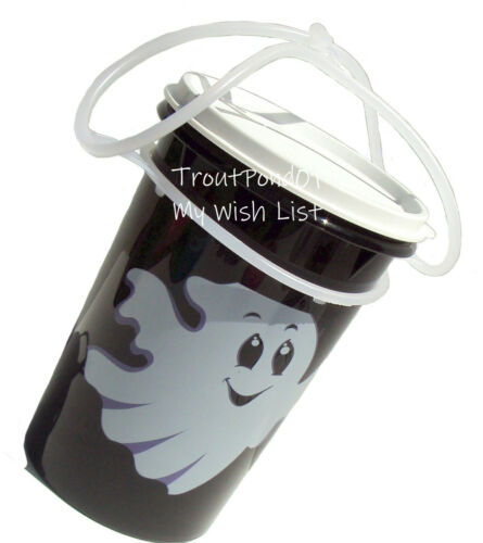 TUPPERWARE Halloween Candy Bucket Jug Container 2 qt Ghost Black w/ Handle
