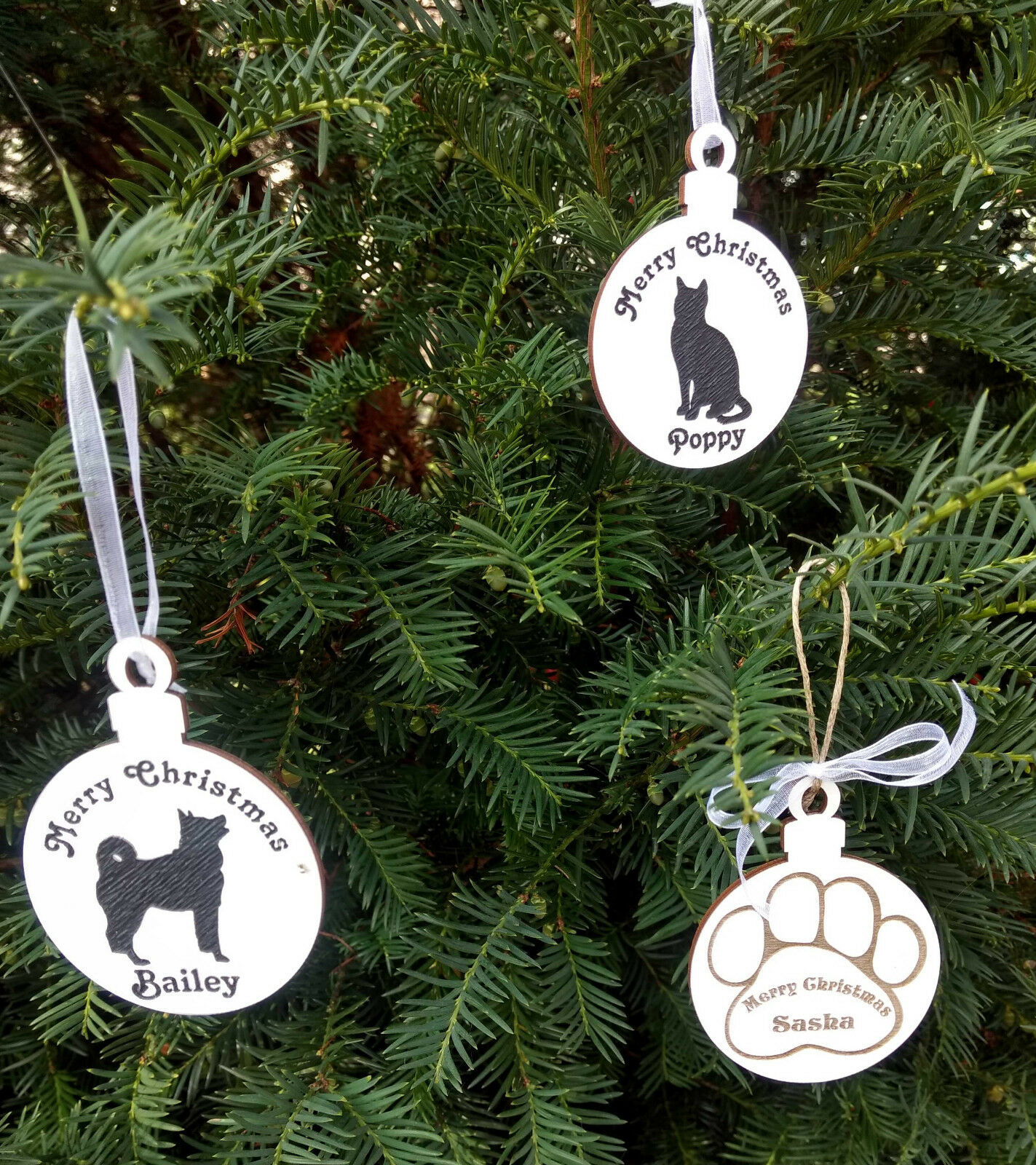 Wooden Christmas personalised pet decoration dog cat tree or